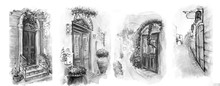 Vintage Old City Sketch Art Wa...