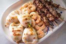 Shrimps, Souvlaki, Kalamari Grillen