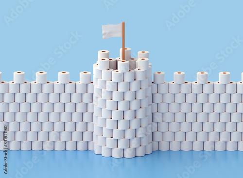 Building a fortress with tower out of toilet paper due to stress and fear from a Fototapet