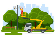 Yellow Engine Powered Scissor Lift. Worker With The Help Of An Automobile Tower Change Repairing A Street Pole.