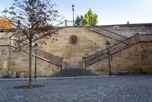 New-gothic Stairs From Charles Bridge To Kampa, Mala Strana, Prague, Czech Republic, Sunny Day