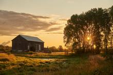 Barn At Sunrise In Autumn