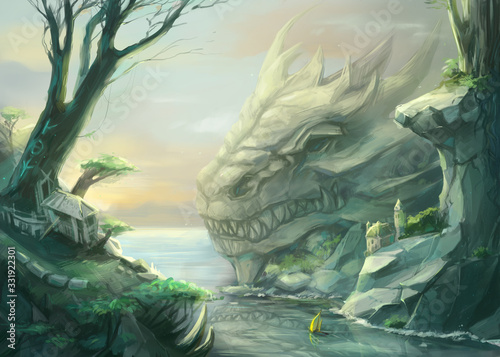 Foto Digital painted landscape with giant dragon head