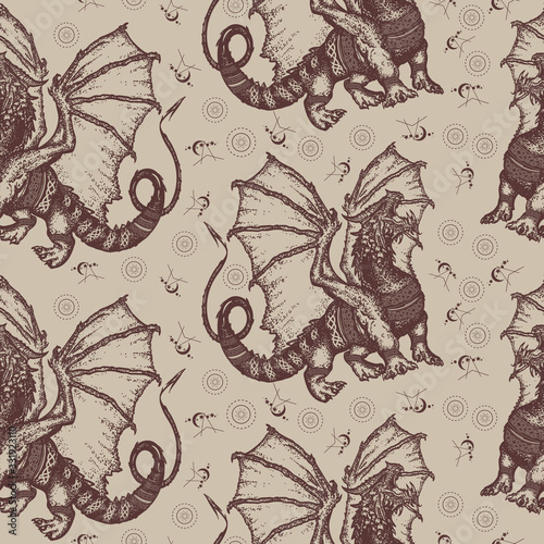 Strong dragon with celtic ornament. Seamless pattern. Packing old paper, scra...