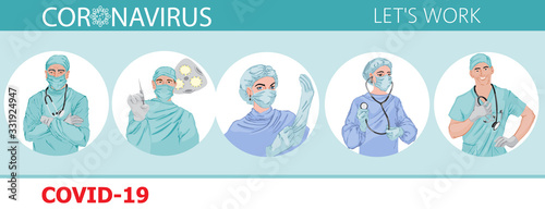Doctors fighting against corona virus Vector icons. Pandemic epidemiology infectious diseases