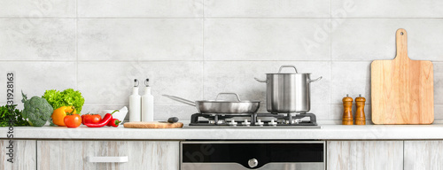 Obraz na plátně Modern kitchen countertop with domestic culinary utensils on it, home healthy co