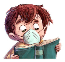 Boy With Medical Mask Reading ...