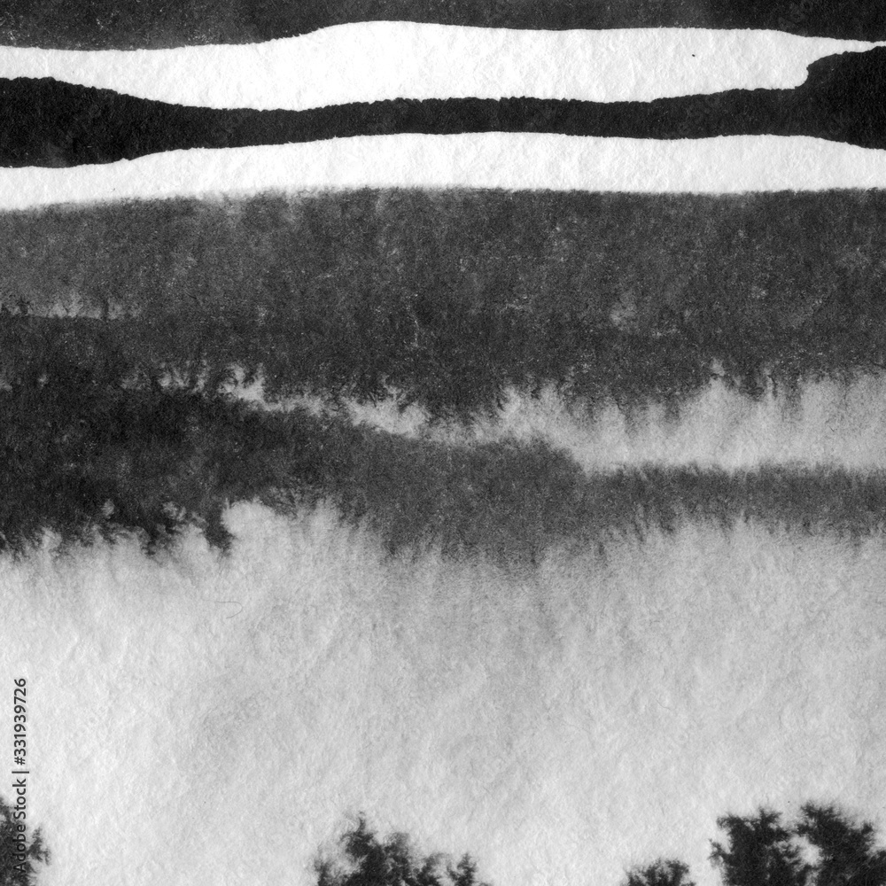 Abstract landscape ink hand drawn illustration. Black and white ink winter landscape with river. Minimalistic hand drawn illustration card background poster banner. Hand drawn watercolor black lines. <span>plik: #331939726 | autor: Smartha</span>