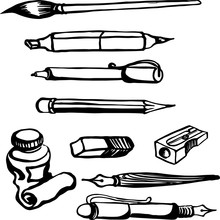 Drawing Of Art Instruments Set