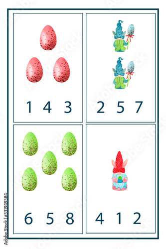Fototapety, obrazy: Preschool math worksheet counting 1 to 10 practice.