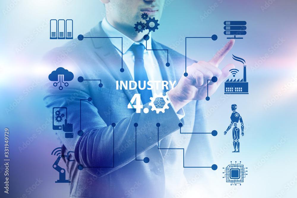 Fototapeta Modern industry 4.0 technical automation concept