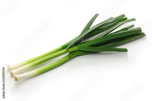Obraz na plátně fresh green garlic, chinese sichuan cuisine ingredients isolated on white backgr