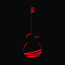 Abstract Red Electric Guitar Symbol On Black Backdrop. Design Element