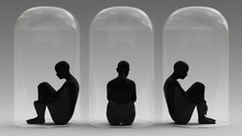 Self Isolation 3 Woman Sitting Down In A Giant Bell Jar 3d Illustration 3d Render