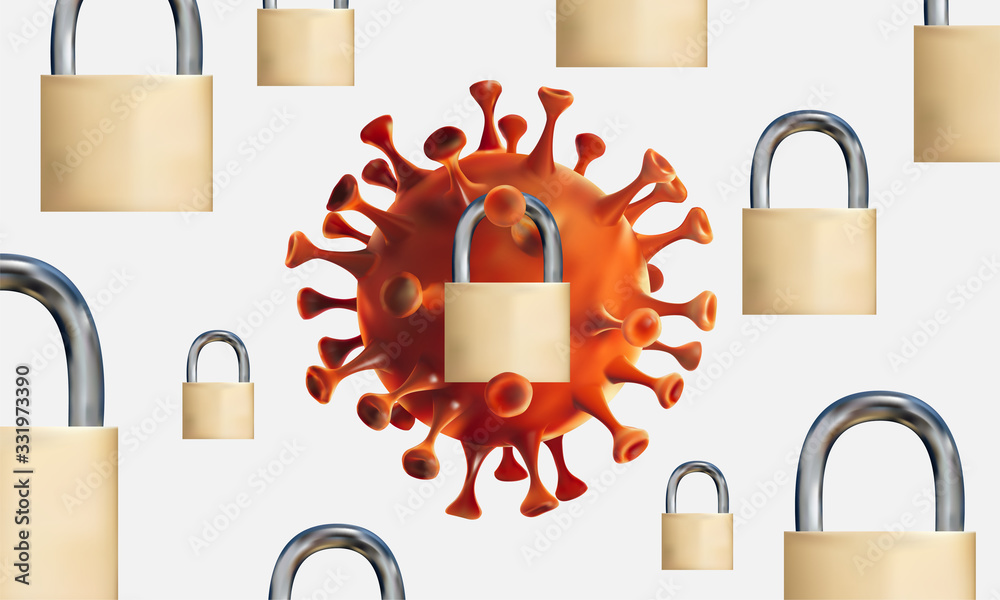 Fototapeta Isolated 3D Realistic illustration of Novel coronavirus cell (2019-nCoV) surrounded by padlocks. 3D vector illustration background.