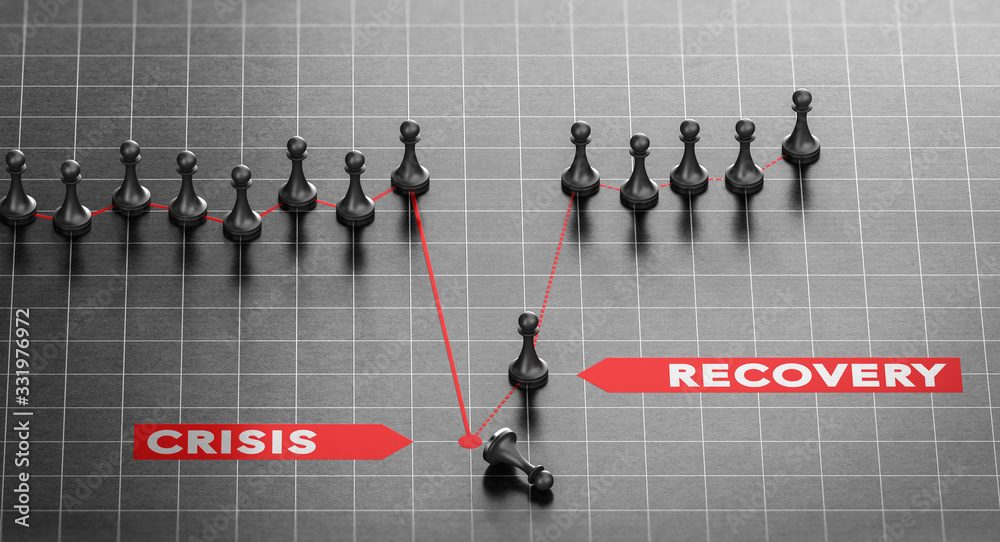 Fototapeta Disaster Recovery. Business Continuity Plan After Crisis.