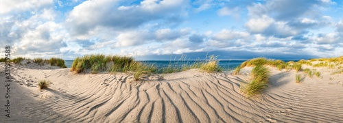 Panoramic view of sand dunes on the beach, North Sea, Germany  - 331977588