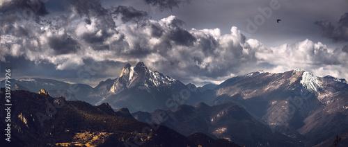 Fotografie, Obraz Moody Landscape of Iconic Pedraforca Massif in Catalonia