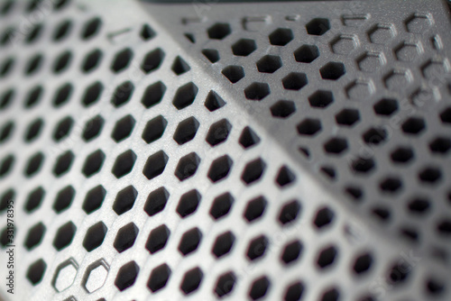 Valokuva Metal perforated sheet, background with circles
