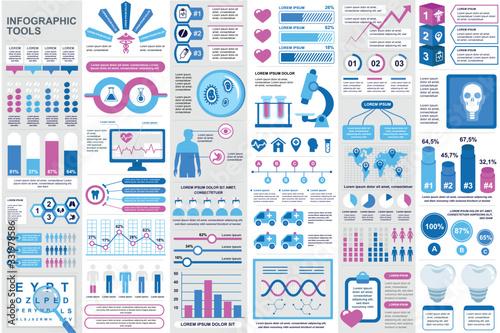 Medical infographic elements set Canvas Print
