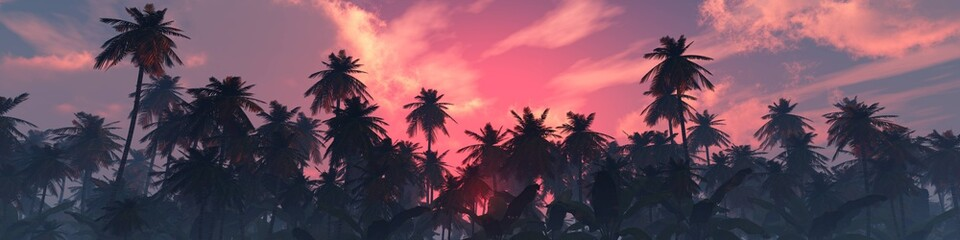 Palm trees against the sky, beautiful sky with clouds and palm trees, sunset ...