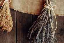 Various Herbs Hang To Dry On A...