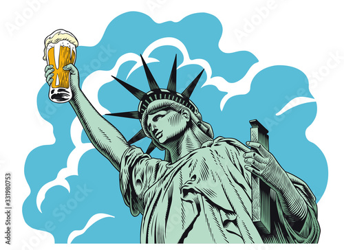 Canvas Print Statue of liberty holding a beer glass