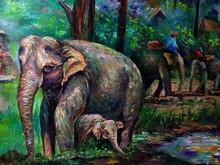 Art Painting Oil Color Elephant Family Thailand