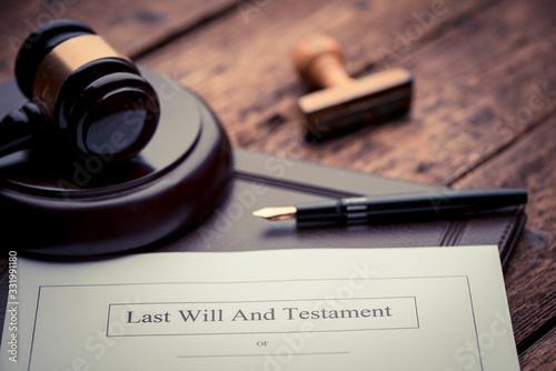 Fototapeta Last Will and testament document obraz