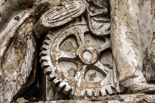 abandoned old big gears industrial bas-relief on monument in Moscow Canvas Print