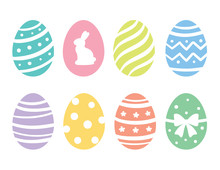 Vector Illustration Of Pastel Easter Eggs With Pattern.