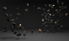 Black Gold Gemstones Pieces Fly. Explosion, Rock Destruction - 3d Render Illustration. Luxury Stylish Background For Template Mockup. Exhibition Space For Brand Goods, Creative Advertising Promotion