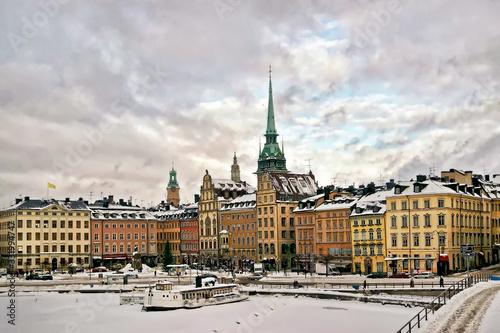 Fotografiet Stockholm city center in winter