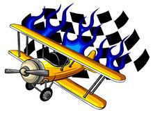 Air Racing. Vector Retro Race Airplane. Illustration