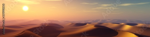 Sand desert at sunset, panorama of desert dunes under the sun, 3D rendering