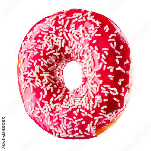 Fototapeta Glazed donut with sprinkles on a white background obraz