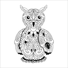 Owl Doodle Patterns Black And ...