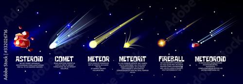 Photo Vector cartoon meteorite, comet asteroid set