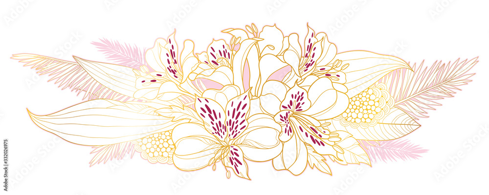 Fototapeta Bouquet of outline tropical Alstroemeria or Peruvian or Incas lily bunch and palm leaf in golden pink isolated on white background.