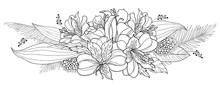Bouquet Of Outline Tropical Al...
