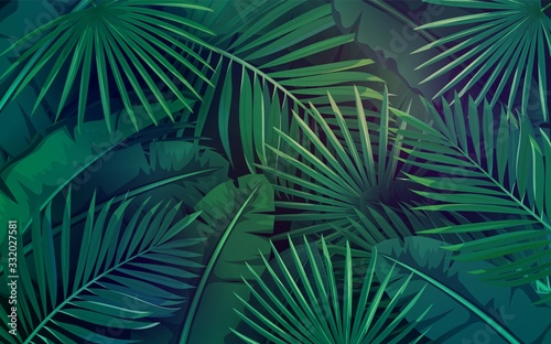 Fototapeta Tropical leaves layout obraz
