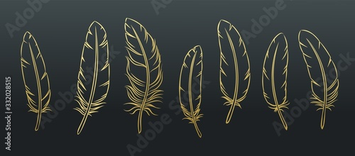 Outline feathers set Wallpaper Mural