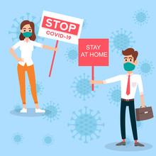Stay Home Save Lives Quarantine Coronavirus Illustration For Social Media, Epidemic Stay Home Save Lives Hashtag.Quarantine Illustration. Covid-19 Corona Virus