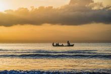 Strand, Sonnenaufgang, Boote, Katamaran, Südsee,