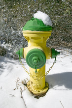 Snow Hat On Yellow And Green Fire Hydrant In Pine Mountain Club, Kern County, Southern California