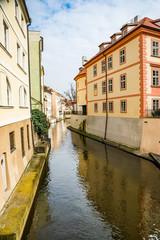 Fototapeta na wymiar Prague, Czech republic - March 19, 2020. Certovka part by the Charles bridge