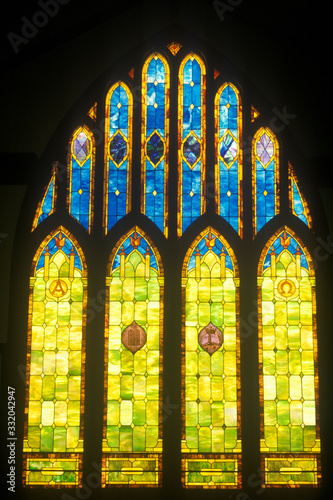 Fototapeta Stained Glass Window in Church, Kauai, Hawaii
