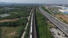 High-speed Train Moves By Rail...
