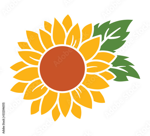 Obraz na plátně Yellow sunflower with green leaves vector illustration.
