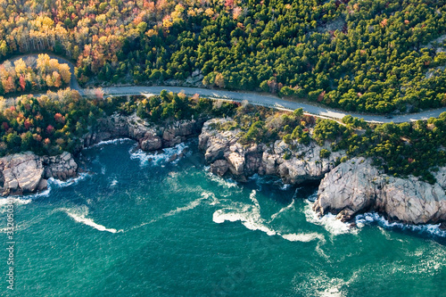 Aerial views of coastline surrounding Acadia National Park, Maine in autumn Wallpaper Mural